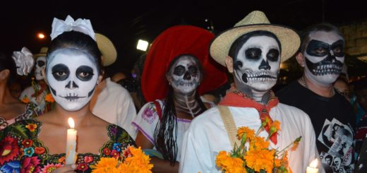 Crowd with skull masks in halloween